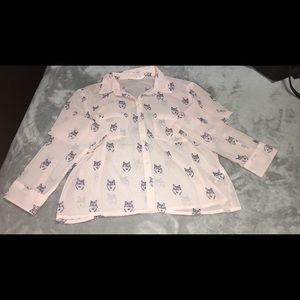 Light pink wolf long sleeve top